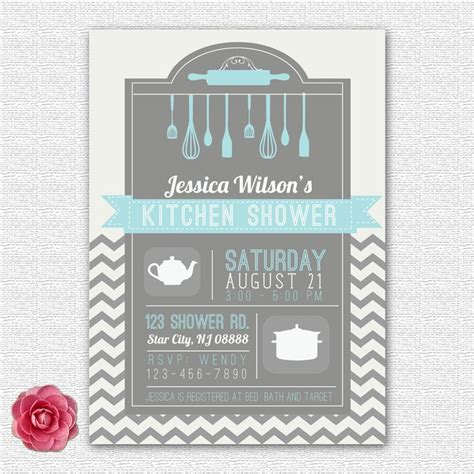 Kitchen Bridal Shower Invitations by Bridal Kitchen Wedding Shower Invitation Chevron Printed Or Diy 12 00 Via Etsy
