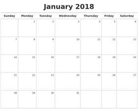 Calendar 2018 Maker January 2018 Calendar Maker