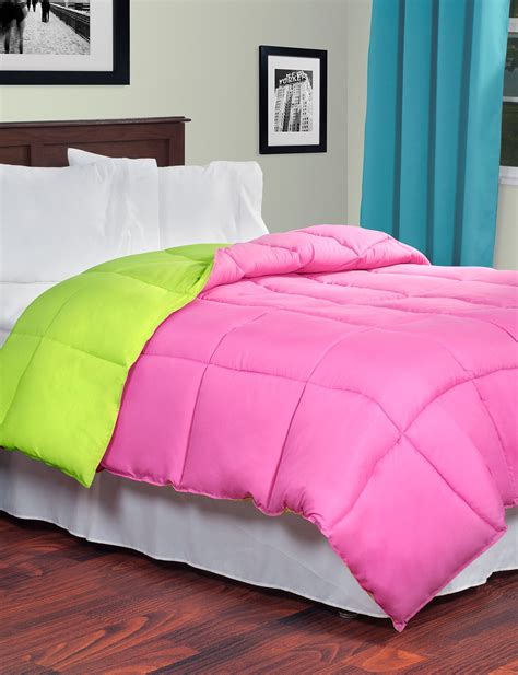 green down comforter lavish home reversible pink lime green down alternative