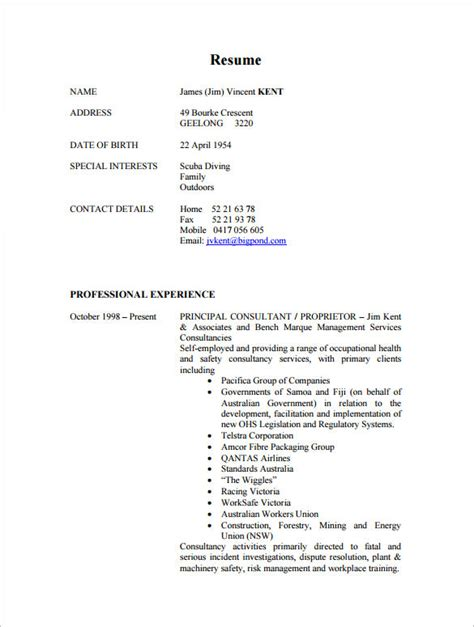 consultant resume template 9 free sles exles