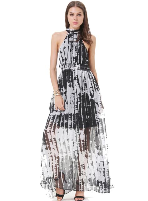 Dress White Slim Waist 17029 black and white stripe slim waist lacing cutout dress