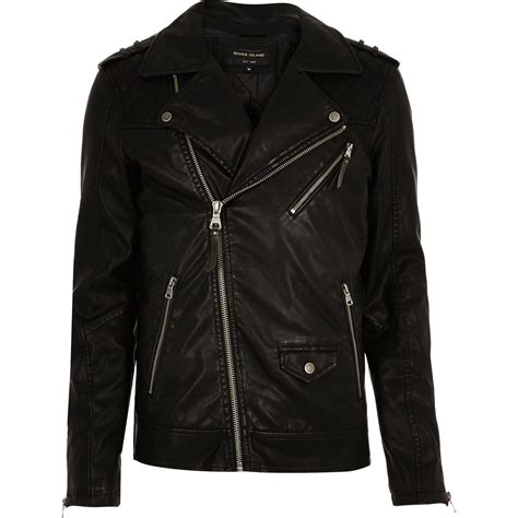 Mens Quilted Jacket River Island by River Island Black Quilted Biker Jacket In Black For