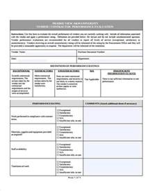 Vendor Performance Evaluation Template by Sle Vendor Evaluation Forms 9 Free Documents In Word