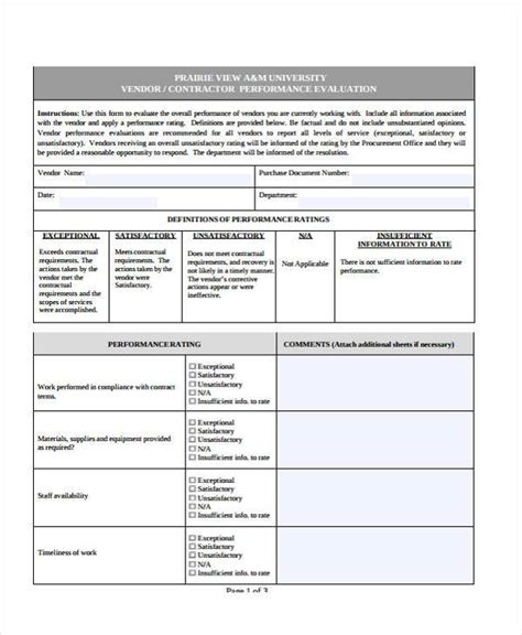 performance sle evaluation vendor performance evaluation template 28 images