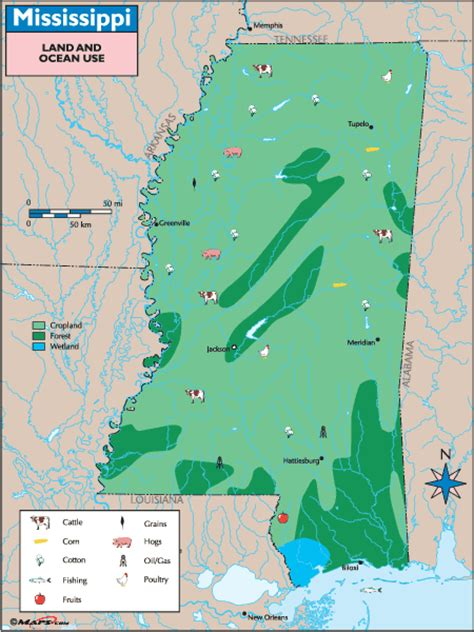 physical map of mississippi mississippi land use map by maps from maps