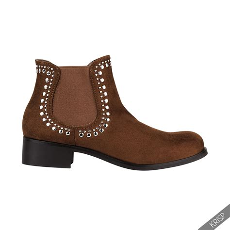low heel boots s womens studded low heel chelsea ankle boots cowboy