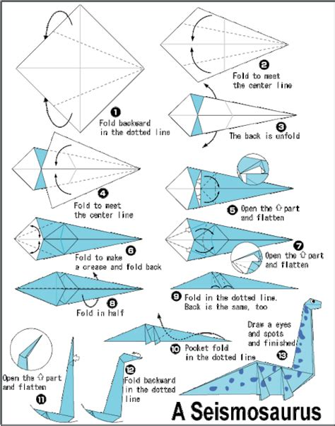 How To Make A Paper Dinosaur Step By Step - origami
