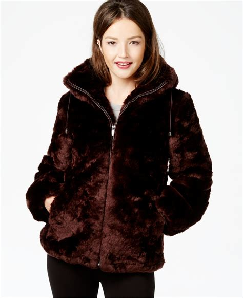 Faux Fur Hooded Coat jones new york hooded faux fur coat in purple burgundy