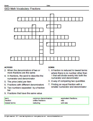 Ged Prep Worksheets by Ged Math Practice Test With Answer Key
