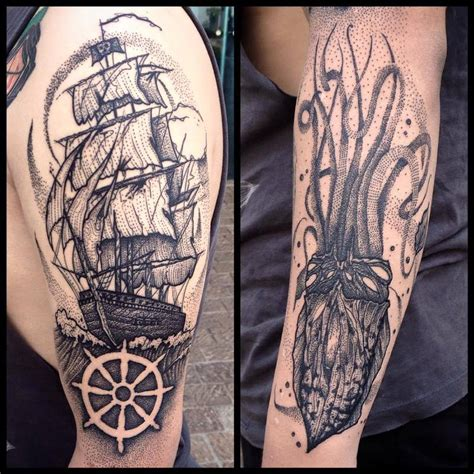 tattoo old school barco barco y calamar