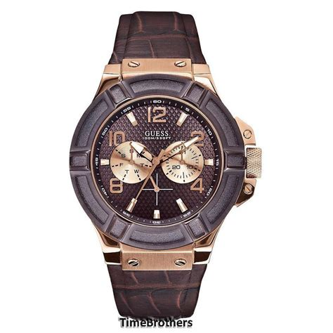 Guess Romawi Date Leather Brown new guess for brown gold tone croco