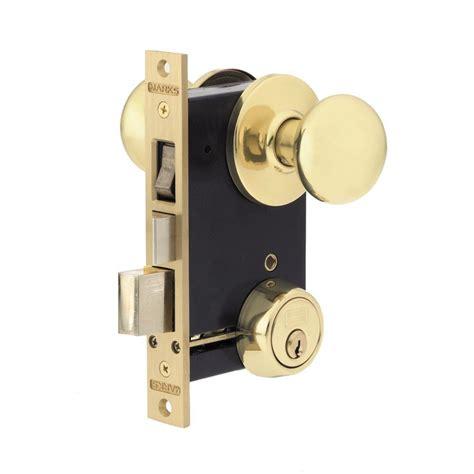 Marks Door Locks by Marks Usa Polished Brass Knob With Cylinder