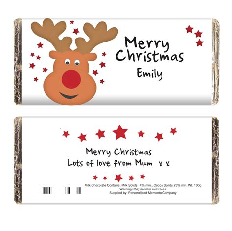 christmas personalised chocolate bar reindeer