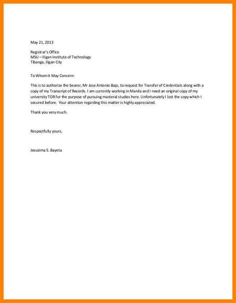 authorization letter to get certification 28 authorization letter sle to get documents