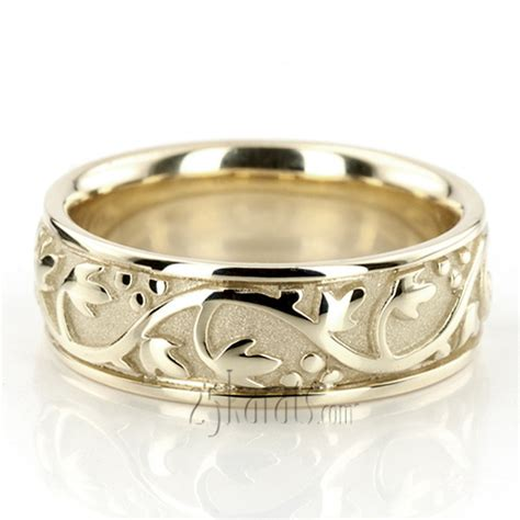 Handmade Wedding Band - floral antique handmade wedding ring hc100232 14k gold