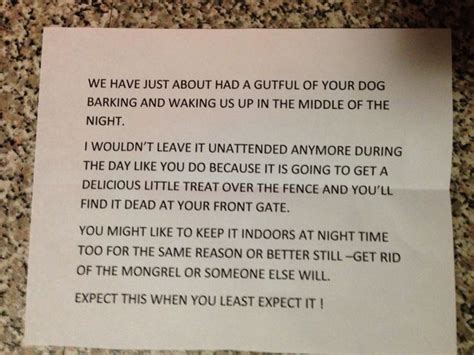 Complaint Letter Unleashed Dogs Resident Told Quot You Ll Find Dead At Front Gate In