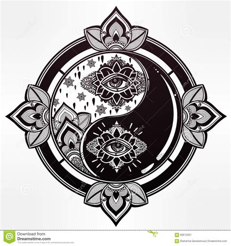 yin and yang trendy boho symbol stock vector image