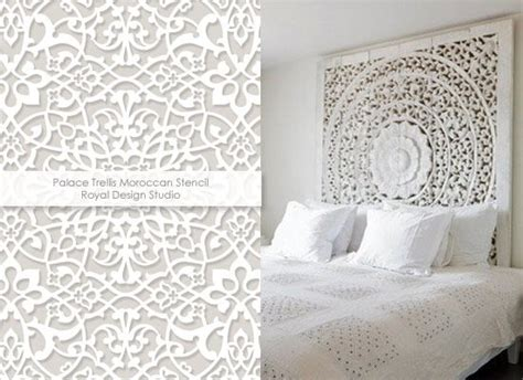 headboard stencils for walls using stencils for white haute pattern trends to warm up