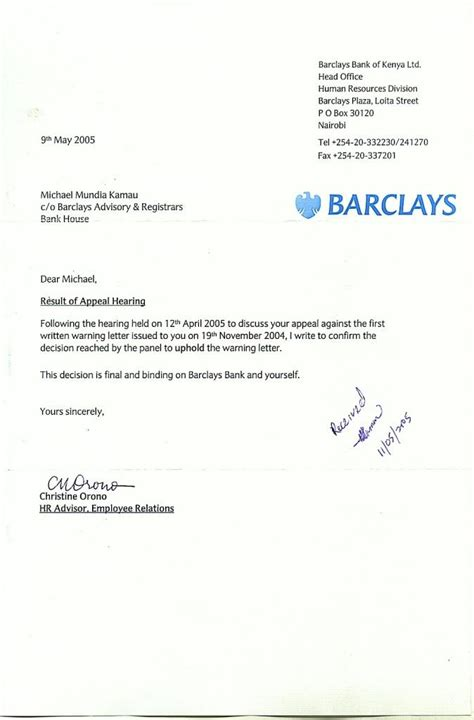 Bank Warning Letter To Customer My Letter Of 13th April 2005 To Mr Edgar Kalya Of Barclays Bank Of Kenya Limited Withdrawing