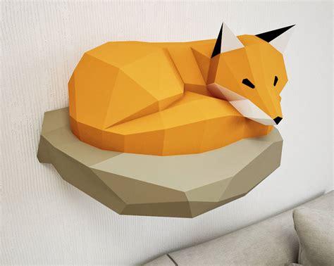 Papercraft Fox - papercraft fox on rock paper model 3d paper craft paper