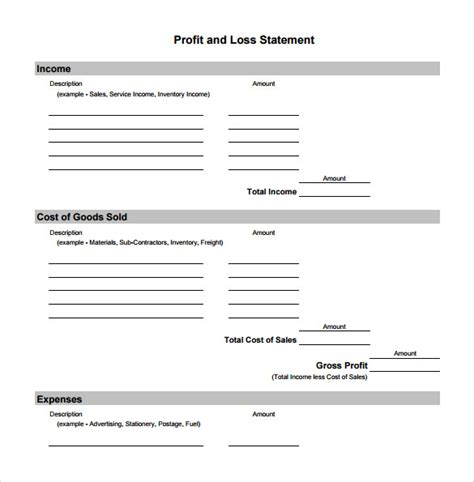 simple p l template profit and loss template 18 free documents in
