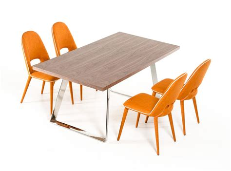 orange dining room sets elite rectangular in wood fabric seats table and four