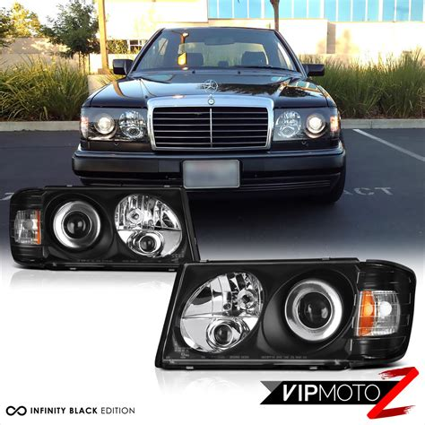 mercedes headlights led light bar kit 86 93 w124 black projector headlight m
