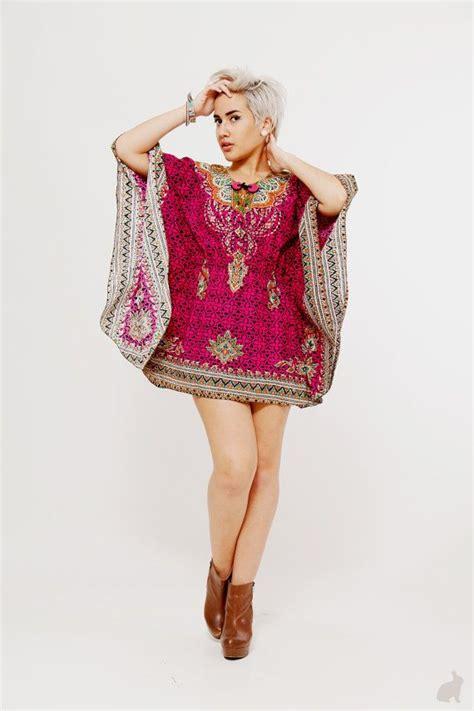 Boho Pocket Tunic Katun Batik Blouse vintage vivacious pink dashiki tunic dramatic made in