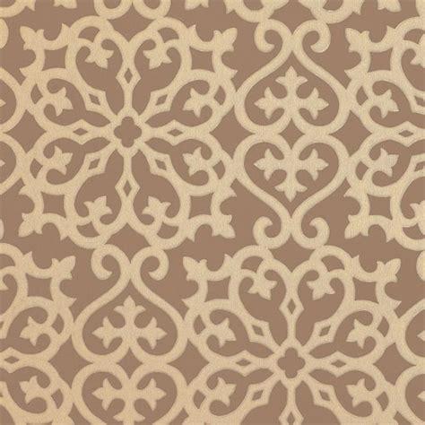 derbyshire damask wallpaper in metallic on brown all