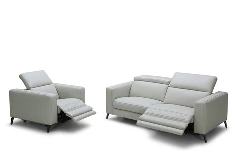 divani casa roslyn modern grey leather sofa set w recliners