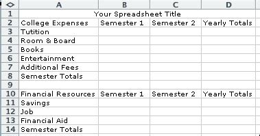 College Expense Spreadsheet Yhscs Computer Applications I Projects College