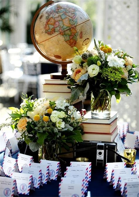 travel themed wedding decorations travel themed seating card table entertaining ideas