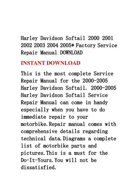 service repair manual free download 2001 volkswagen rio navigation system harley davidson softail 2000 2001 2002 2003 2004 2005 factory servic