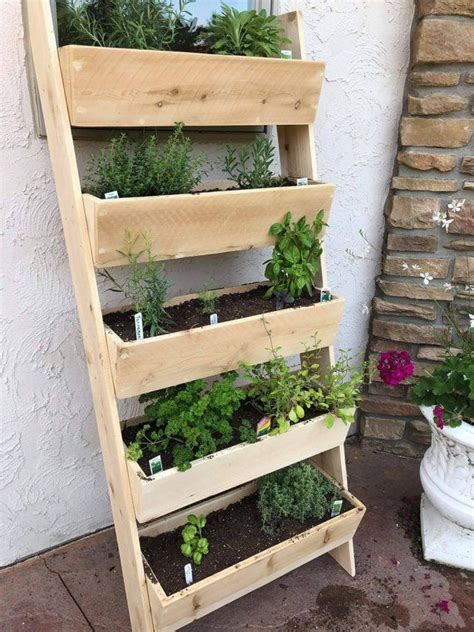 vertical cedar ladder planter vertical garden diy
