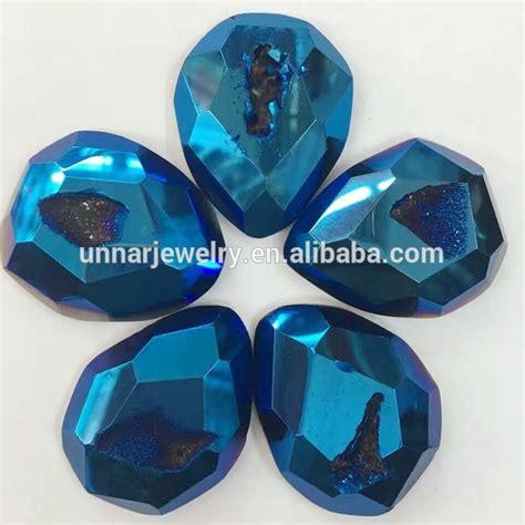 Kalung Batu Bentuk Teardrop manik manik batu akik druzy agate quartz oval cabochon metellic perak perhiasan batu buy