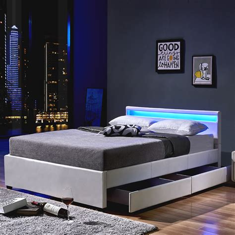Moderne Betten 200x200 by Led Bed Nube Including Drawers 180 X 200 White