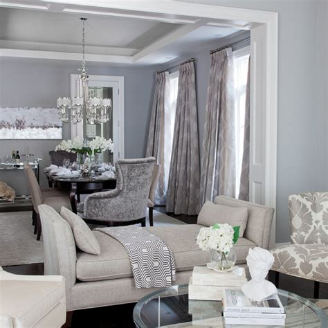 gray and blue living room dining room