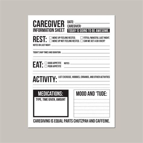 Caregiver Information Sheet For Individuals With Dementia Daily Caregiver Notes Template