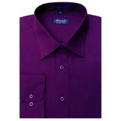 new amanti mens solid eggplant purple formal dress shirt