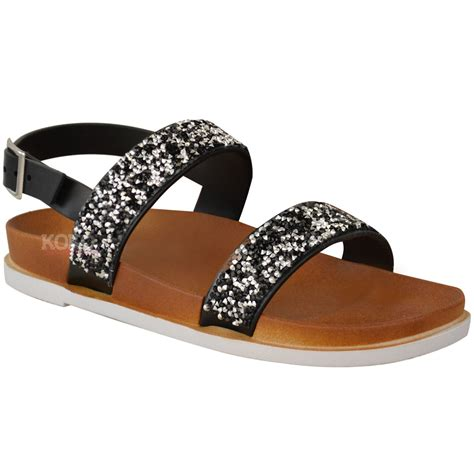 flat sandals for summer womens diamante summer flat sandals ankle strappy