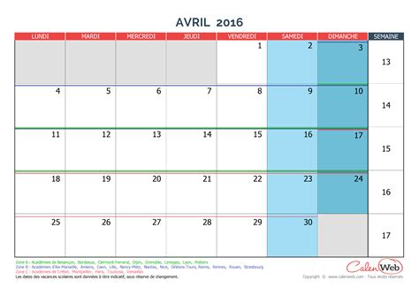 Calendrier Ferie Calendrier Mensuel Mois D Avril 2016 Avec Jours F 233 Ri 233 S