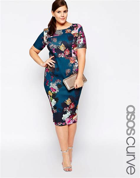 New Jfashion Dress Scuba Printing Hitam Hgb asos curve asos curve floral print scuba bodycon dress at asos