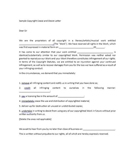 cease and desist letter harassment template 30 cease and desist letter templates free template lab