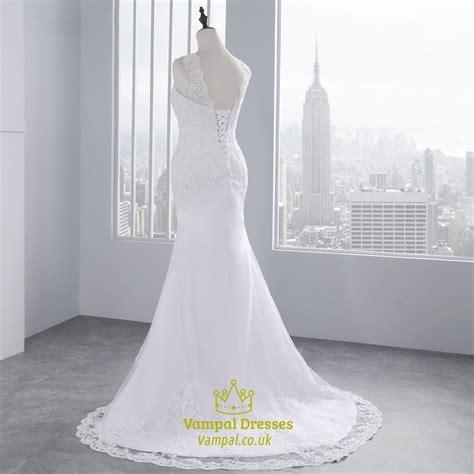 Sleeveless Mermaid Lace Dress sleeveless backless mermaid style lace wedding dress with