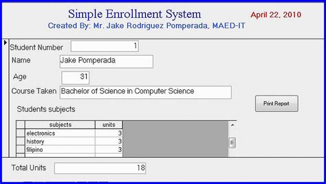 student information system template simple enrollment system version 1 0 free source code