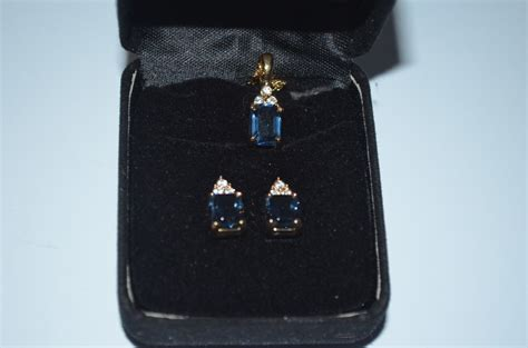 Publishers Clearing House Jewelry - sapphire crystal pendant pierced earrings set publishers clearing house coa
