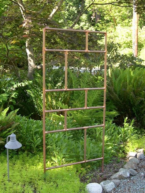 Copper Pipe Trellis these metal garden trellises are beautiful with or without plants