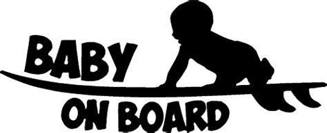 Wall Mirror Sticker baby on board surf board sticker 6 yr outdoor vinyl in black
