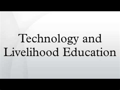 thesis about technology and livelihood education technology and livelihood education youtube