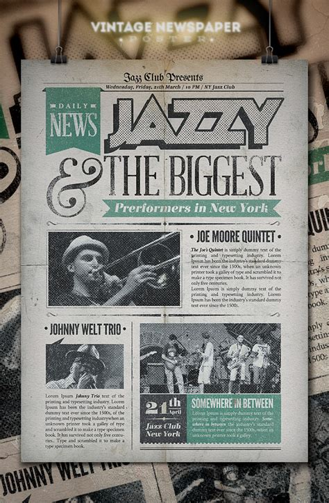 Newspaper Poster Template by Jazz Vintage Newspaper Poster Flyer Templates On